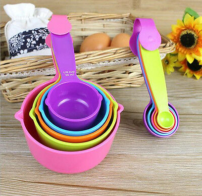 5Pcs Colorful Plastic Measuring Cups Measuring Spoons Set Baking Teaspoon Hot