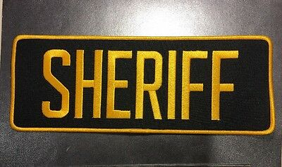 """Sheriff Police High Quality Embroidered Uniform Back Patch Navy/Yellow 11"""" X 4"""""""
