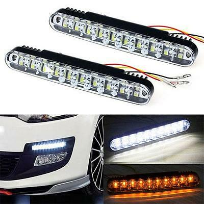 2 x 19cm 30 SMD Dual Function DRL With Amber Indicator 6000k White Ford Transit