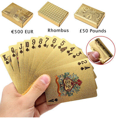 Waterproof Playing Cards Deck Magic card Plastic Gold Foil Plated Poker Cards