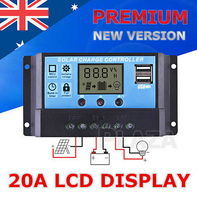 20A 12V/24V LCD Display Solar Panel Battery Regulator Charge Controller PWM USB