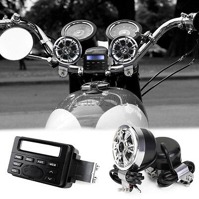 Motorbike Amplifiers Speakers Audio System FM Radio Stereo Handlebar For Harley