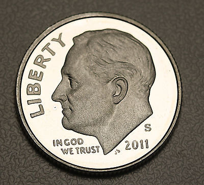 2011 S US Roosevelt Dime Silver Proof GEM Ultra Cameo Coin