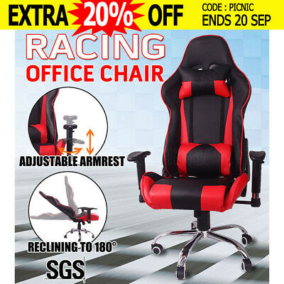 Executive Racing Office Chair Gaming Computer PU Leather Sport Seat Black&Red AU