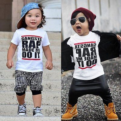 Toddler Kids Baby Boy Summer Short Sleeve Cotton T-shirt Tee Tops Outfit Clothes