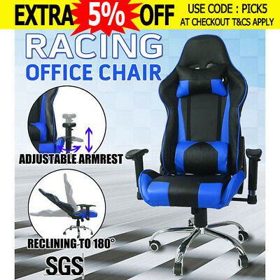 Executive Racing Office Chair Gaming Computer PU Leather Sport Seat Black&Blue