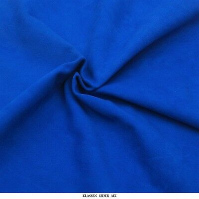 Lammvelour 1,0 mm Dick Echtes Leder Haut Velours Blau Fell Leather H123