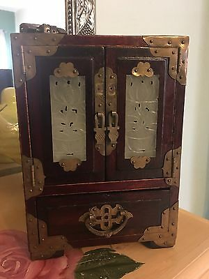 Vintage Shanghai China Chinese Import Wood Jade Brass Jewelry Box Armoire