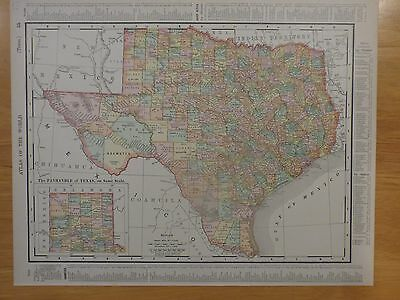 1901 Rand McNally 2-sided map of Texas and Oklahoma/Indian Territory from atlas