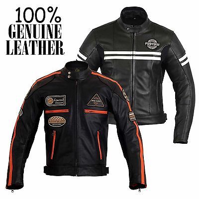 Mens Motorbike 100% Genuine Leather Waterproof Jacket Motorcycle CE Protection