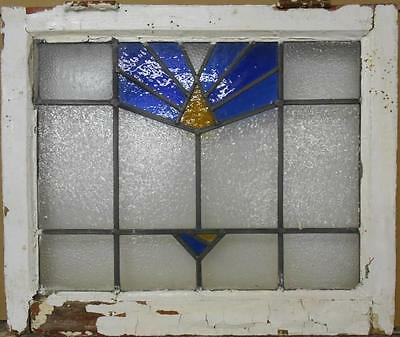 "MID SIZED OLD ENGLISH LEADED STAINED GLASS WINDOW Blue Geo Burst 24"" x 20.25"""