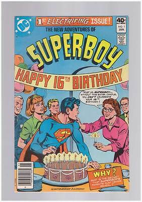 New Adventures of Superboy # 1  1980  Happy Birthday  !  grade 6.5 scarce book !