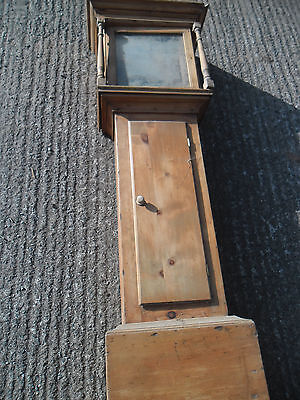 "Antique Pine Longcase Clock Case for restoration (for 12"" dial)"