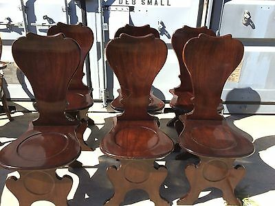 Set Of 6 George Ii Hall Chairs Solid Mahogany Heart Back / Dining Chair