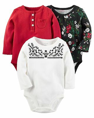 Carters Infant Girls' 3-Pack Long-Sleeve Bodysuits Red, Black & White NWT