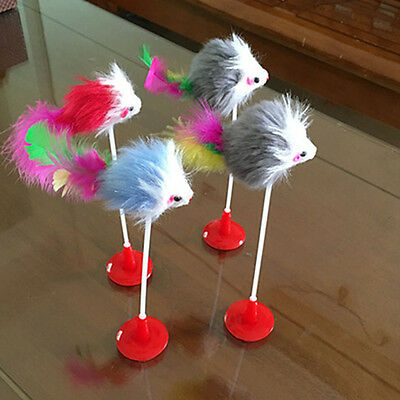 Colorful Feather Cat Toy False Mouse And Bottom Sucker Cat Teaser Toys New