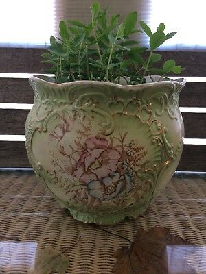 Large Antique Victorian Porcelain Jardiniere / Planter