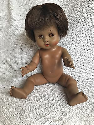 "VINTAGE Ginny Black Baby Doll AA Drink & Wet Vinyl 12"" Vogue No Clothes"