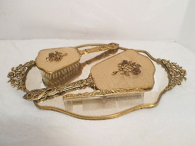 Gold plated vanity mirror tray, comb, brush and hand mirror