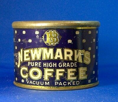 keywind tin NEWMARK'S COFFEE 1lb LID??? Newmark Brothers LOS ANGELES USA