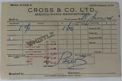 1950's CROSS & CO. AERATED WATER RECEIPT           (INV13254)