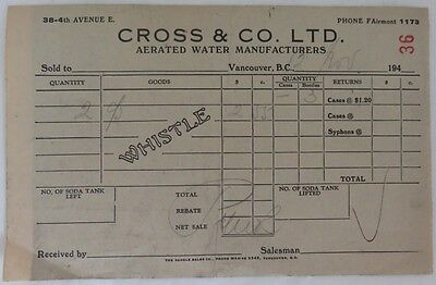 1950's CROSS & CO. AERATED WATER RECEIPT           (INV13255)