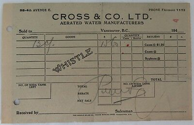 1950's CROSS & CO. AERATED WATER RECEIPT           (INV13256)