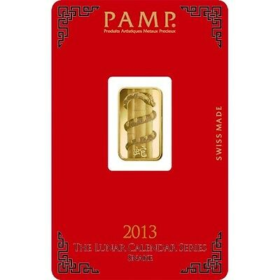 PAMP SUISSE 2013 Year of the Snake 5g (gram) Gold Bar .9999 PURE