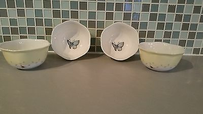 Set of 4 LENOX Butterfly Meadow China Bowls Pastel Yellow Band Butterfly Center