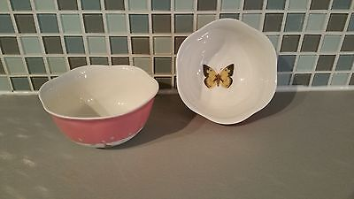 Set of 2 LENOX Butterfly Meadow China Bowls Pastel Pink Band Butterfly Center