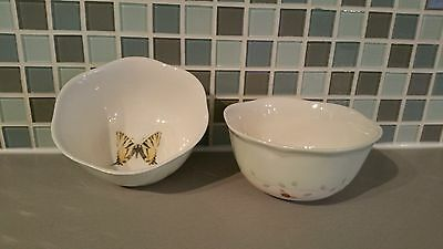 Set of 2 LENOX Butterfly Meadow China Bowls Pastel Blue Band Butterfly Center