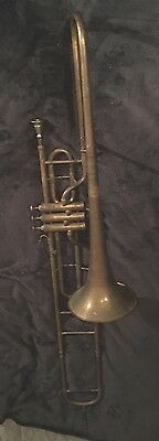 Vintage valve Bb trombone, Unusual. French Pelisson Guinot Blanchon 1812