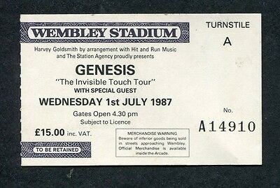 1987 Genesis concert ticket stub Wembley UK Invisible Touch Land of Confusion