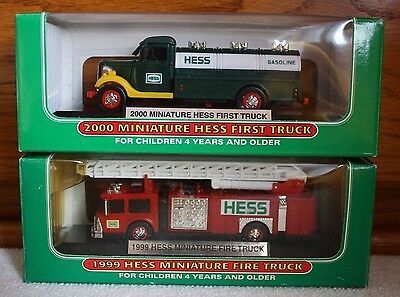 Set of 2 Vintage Mini Hess Trucks 1999 Fire Truck And 2000 First Truck (Tanker)