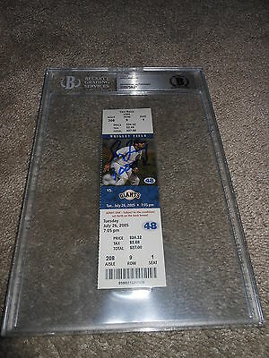 Greg Maddux Ip Auto Signed 3000Th K Ticket 7/26/2005 Cubs With Insc Beckett Bas