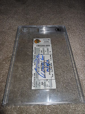 Marian Hossa Ip Auto Signed 5Ooth Goal Ticket 10/18/16 Blackhawks Beckett Bas W