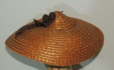 1940' s Steriger's Straw Large Brim Hat w Brown Bow One Size