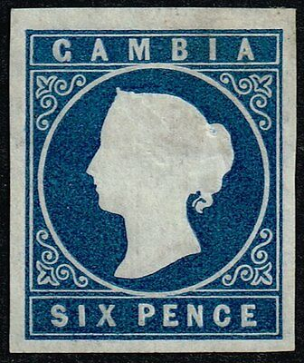 Gambia 1874 6d. deep blue (wmk. inverted), MH (SG#7w)
