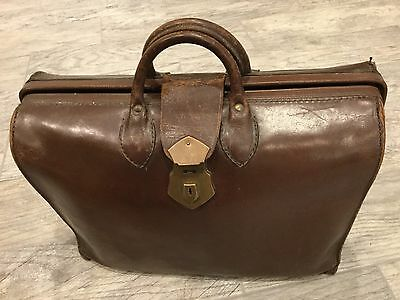 Vintage Leather Satchel Doctor's Medical Bag Hinged