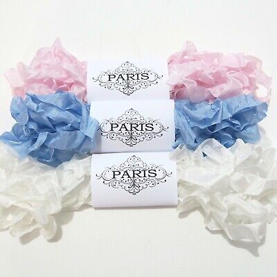 NEW Seam Binding Scrunched Rayon Ribbon-Doll Making- Pink-Blue -White-15 YARDS