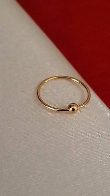 Gold Plated Over 925 Sterling Silver Plain Hoop Nose Ring Piercing 10mm 1pc