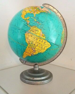 Vintage **TERRESTRIAL WORLD GLOBE**  Old School NEW PEERLESS 8 Inch Desk Globe