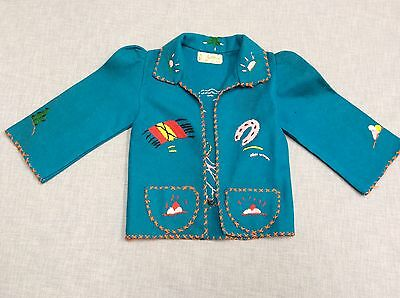 Vtg Mexican Teal Wool Felt Jacket Childs Coat Display Embroidered Souvenir 50s