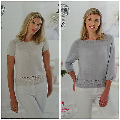 KNITTING PATTERN Ladies 3/4 or Short Sleeve Jumper GizaCotton 4ply KingCole 4788