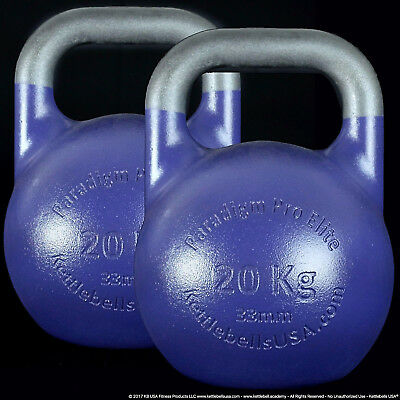 20 kg Paradigm Pro ELITE 33mm Handle Competition Kettlebell Pair *FREE SHIPPING*