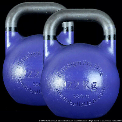 22 kg Paradigm Pro ELITE 33mm Handle Competition Kettlebell Pair *FREE SHIPPING*