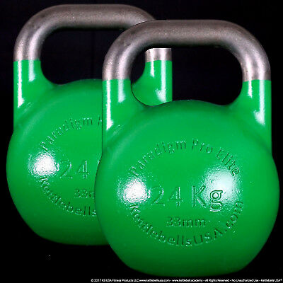 24 kg Paradigm Pro ELITE 33mm Handle Competition Kettlebell Pair *FREE SHIPPING*