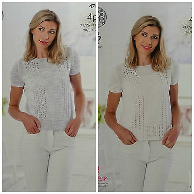 KNITTING PATTERN Ladies Short Sleeve Lace Jumper Cotton 4ply King Cole 4786