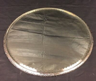 Antique French Style Beveled Mirror Silverplate Vanity Tray Queen City Silver Co