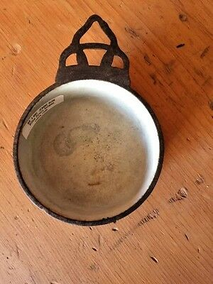 Antique 19th century SIGNED  Cast Iron ENAMEL Porringer by Clarks Patent